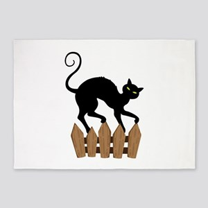 Creepy Black Cat 5'x7'Area Rug