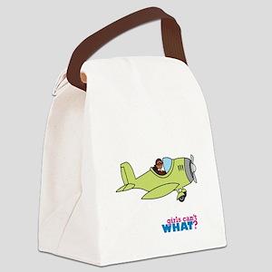 Girl Airplane Pilot Dark Canvas Lunch Bag
