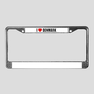 I Love Denmark License Plate Frame