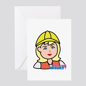 Construction Worker Head - Light/Blo Greeting Card