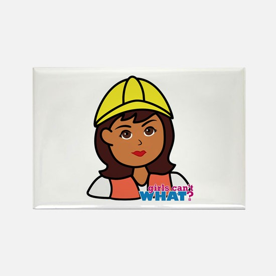 Construction Worker Head - Dark Rectangle Magnet