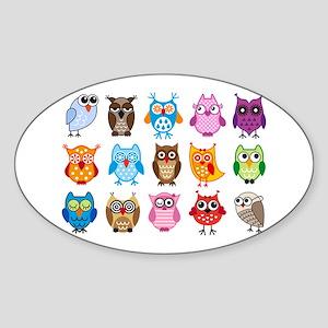colorful cute owls Sticker