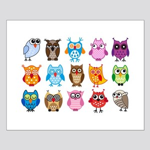 colorful cute owls Posters