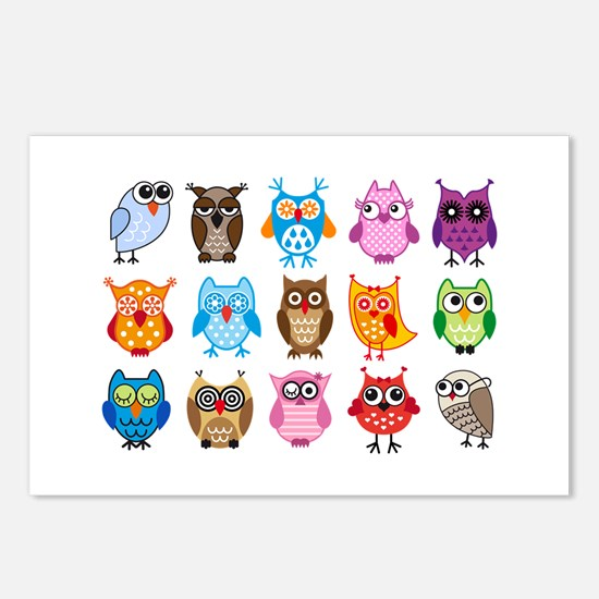 colorful cute owls Postcards (Package of 8)