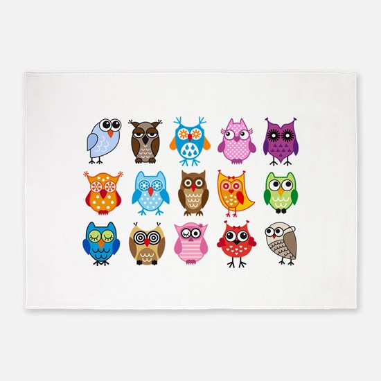 colorful cute owls 5'x7'Area Rug
