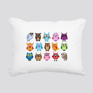colorful cute owls Rectangular Canvas Pillow