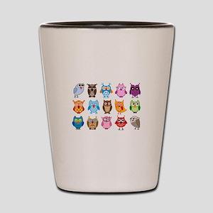 colorful cute owls Shot Glass