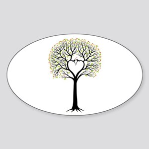 Love tree with heart branches, birds and hearts St