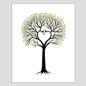 Love tree with heart branches, birds and hearts Po