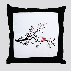 Kissing birds on tree Throw Pillow