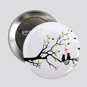 """Cats in love on tree 2.25"""" Button"""