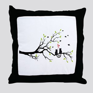 Cats in love on tree Throw Pillow