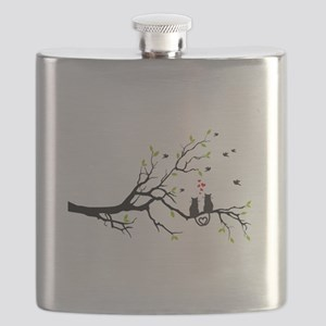 Cats in love on tree Flask