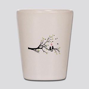 Cats in love on tree Shot Glass