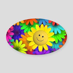 Colorful Art of Flower Oval Car Magnet