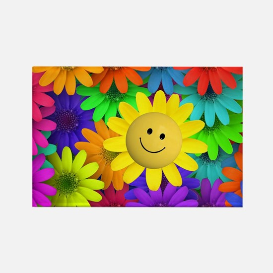 Colorful Art of Flower Rectangle Magnet