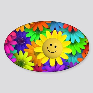 Colorful Art of Flower Sticker (Oval)
