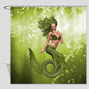 Green Mermaid Shower Curtain