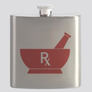 Red Mortar and Pestle Rx Flask