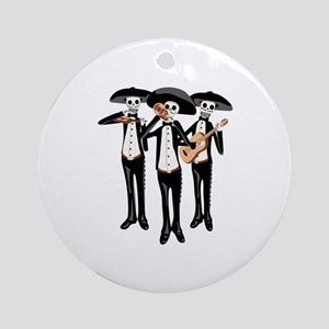 Day Of The Dead Mariachi Skeletons Ornament (Round