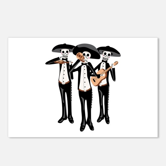 Day Of The Dead Mariachi Skeletons Postcards (Pack