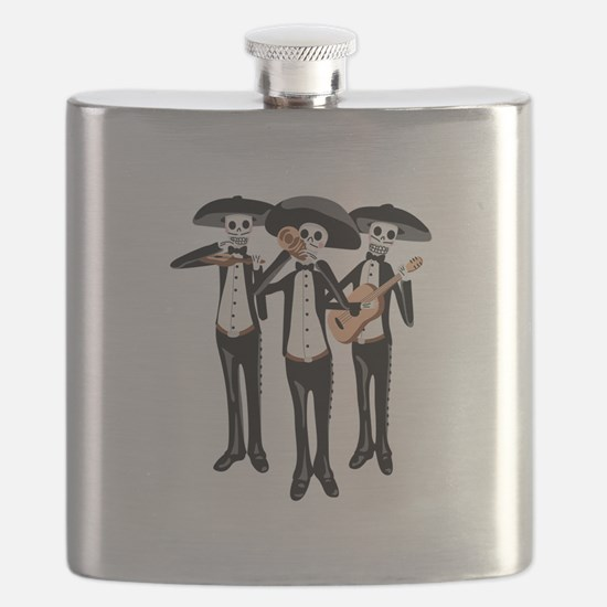 Day Of The Dead Mariachi Skeletons Flask
