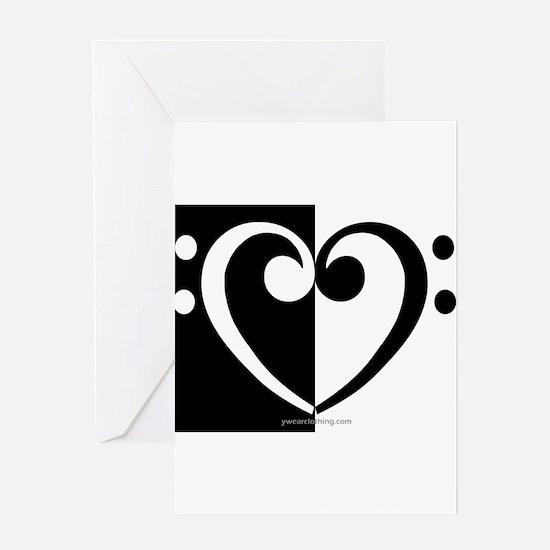 Bass Heart Music Greeting Cards