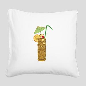Tiki Mug Drink Square Canvas Pillow