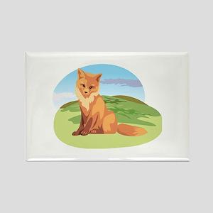 Scenic Fox Design Rectangle Magnet