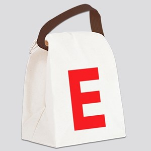 Letter E Red Canvas Lunch Bag
