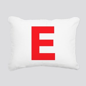 Letter E Red Rectangular Canvas Pillow