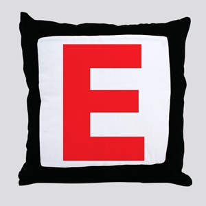 Letter E Red Throw Pillow