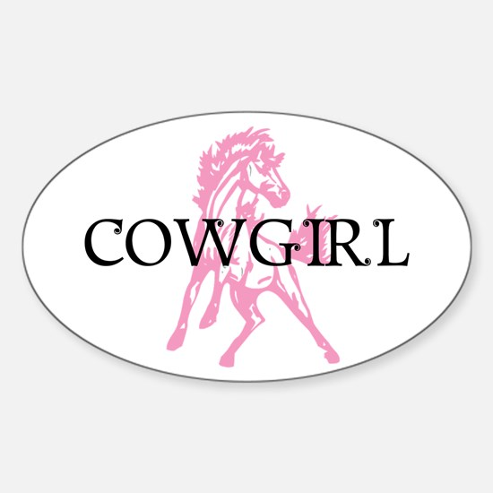 pink horse cowgirl Oval Decal