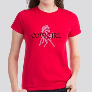 pink horse cowgirl Women's Dark T-Shirt