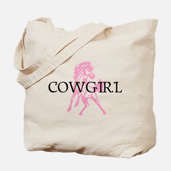 pink horse cowgirl Tote Bag