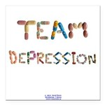 Team Depression Button Square Car Magnet 3