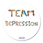 Team Depression Button Round Car Magnet