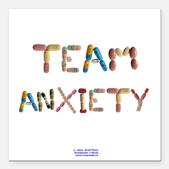 "Team Anxiety Button Square Car Magnet 3"" X 3&"