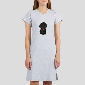 Poodle pup (blk) Women's Nightshirt