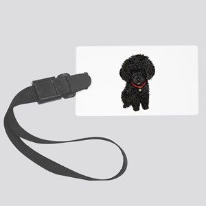 Poodle pup (blk) Large Luggage Tag