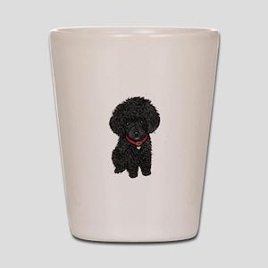 Poodle pup (blk) Shot Glass