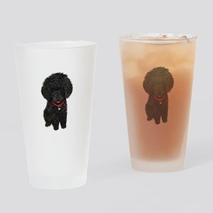 Poodle pup (blk) Drinking Glass