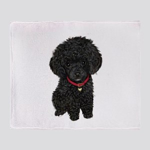 Poodle pup (blk) Throw Blanket