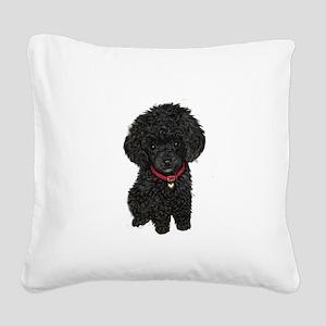 Poodle pup (blk) Square Canvas Pillow