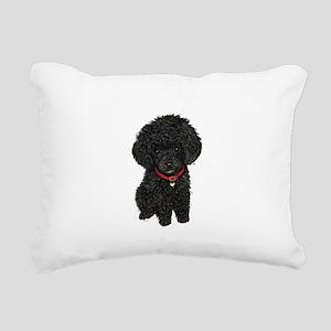 Poodle pup (blk) Rectangular Canvas Pillow
