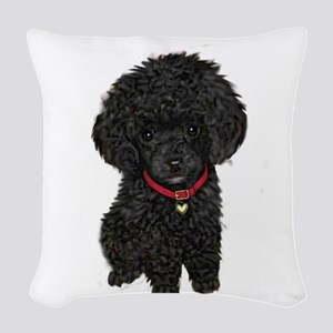 Poodle pup (blk) Woven Throw Pillow
