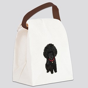 Poodle pup (blk) Canvas Lunch Bag