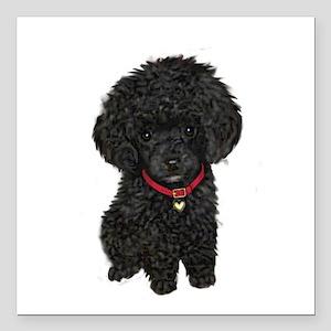 """Poodle pup (blk) Square Car Magnet 3"""" x 3"""""""