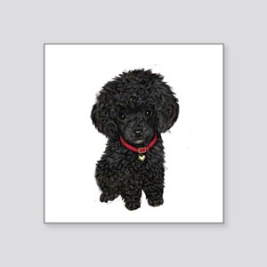 "Poodle pup (blk) Square Sticker 3"" x 3"""
