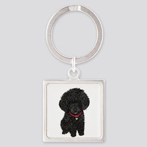 Poodle pup (blk) Square Keychain